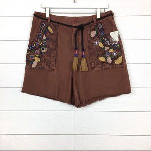 NWT Free People Embroidered Tassel Shorts Wine